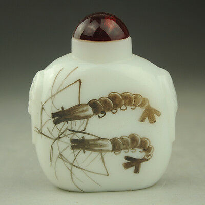 Chinese old hand engraving jade freehand sketching shrimp pattern snuff bottle
