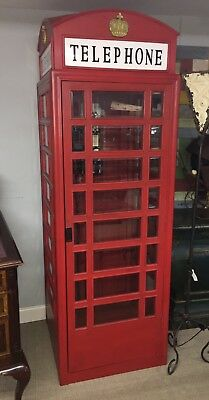 ENGLISH STYLE FULL SIZE REPLICA TELEPHONE BOOTH w/ WORKING TELEPHONE in RED