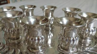 8 Vintage Sterling Silver Cup Tumbler Set wTray