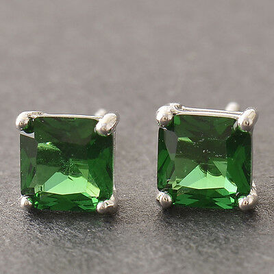 Womens Mens Square Silver Punk White Gold Filled Green Gemstone Stud Earrings