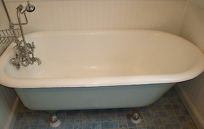 Antique Cast Iron 1910 CLAWFOOT TUB Strom Plumbing Chrome Brass Fixtures 60 inch