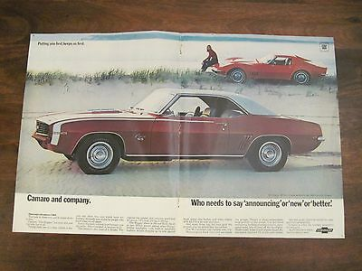 1969 Chevy Camaro SS Corvette Vintage Car Original Print Ad / Advertisement