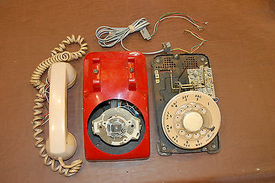 Parts - Vintage Rotary Dial Telephone Phone Desktop NW Bell Co. Works! Red Beige
