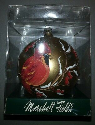 Rare Marshall Field's Ornament Cardinal Bird Gold Background 2005