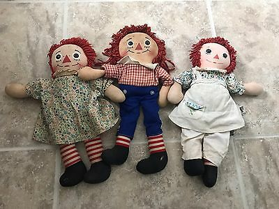 Set Of 3 Vintage 60's Raggedy Ann And Andy Dolls Knickerbocker