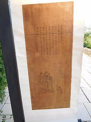Antique Chinese Scroll of court officials  character marks calligraphy