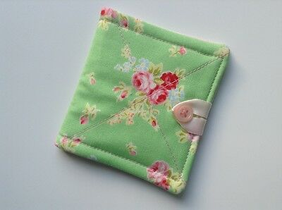 needlecase fabric green/pink floral Felt page inside Gift Present Needles Book