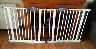 Lindam pressure fit stair gates,buy them now  £20 the pair.