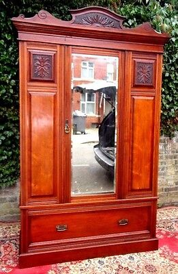 Genuine Victorian Period  Antique Hand Carved Mahogany Wardrobe Good Condition
