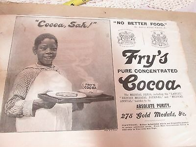 ANTIQUE FRY'S PURE COCOA AD COCOA SAH? AFRICAN AMERICAN ADVERTISING 8x11""