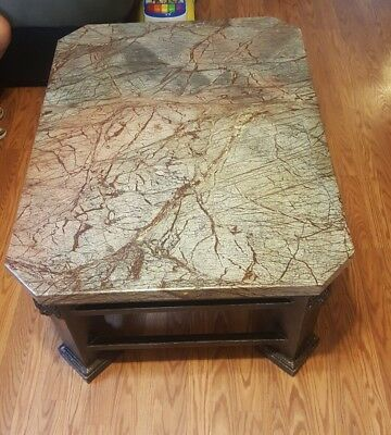 Fine Marble Top  Victorian Cast Iron Foyer Hall Table