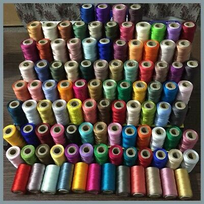 100 x Large Art Silk Rayon Sewing Embroidery Threads Spools Assorted Colours New