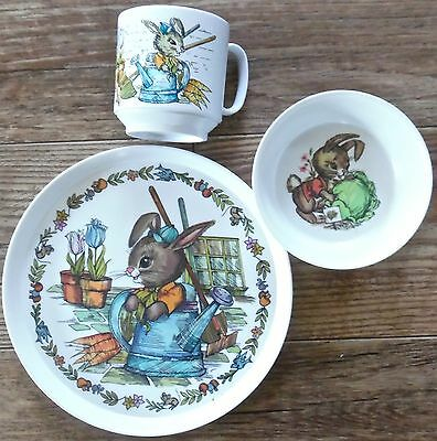Vintage Oneida Bowl Plate cup Melamine Child Dishes Peter Rabbit