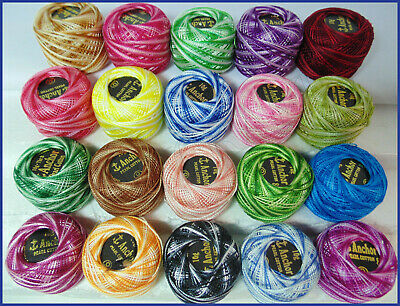 20 x VARIEGATED ANCHOR PEARL COTTON CROCHET BALLS EMBROIDERY THREADS NICE COLOUR