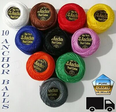 10 x Anchor Crochet Cotton Thread Balls Multi Colours Indian Embroidery UK