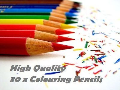30 x COLOURING PENCILS SCHOOL STATIONARY ART CRAFT CLASS KIDS DESIGN PACK SET