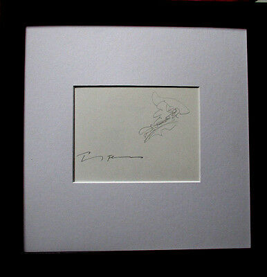 PAUL FLORA >Richard Wagner< HANDSIGNIERT Handzeichnung, 20x26, signed mit Rahmen