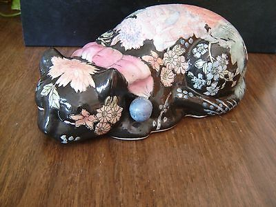 Black Cat Floral Design Sleeping Cat Display Andrea by Sadek 9 1/2""