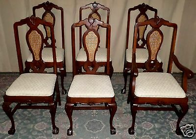 WALNUT CHIPPENDALE DINING CHAIRS Pierced and Cane Back Set of 6 ANTIQUE