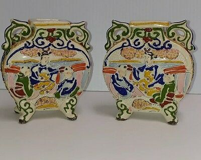 Antique Pair of Japanese Moriage Satsuma Footed Urns !