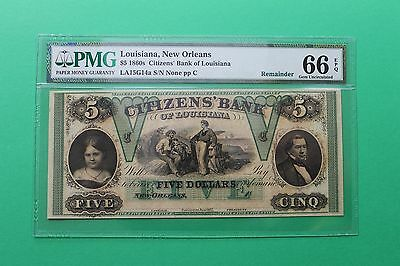 1860's $5 Citizens Bank Louisiana New Orleans Remainder Obsolete Note PMG 66 EPQ