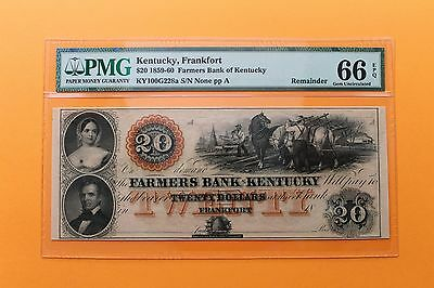 1859-60 $20 Farmers Bank of Kentucky Remainder Obsolete Note PMG 66 EPQ