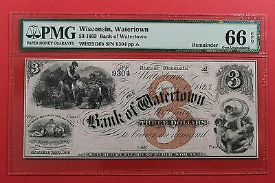 1863 $3 The Bank of Watertown Wisconsin Remainder Obsolete Note PMG 66 EPQ