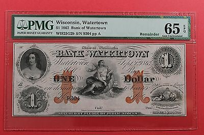 1863 $1 The Bank of Watertown Wisconsin Remainder Obsolete Note PMG 65 EPQ