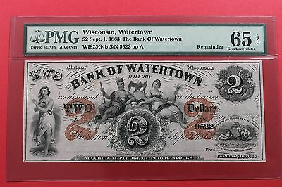 1863 $2 The Bank of Watertown Wisconsin Remainder Obsolete Note PMG 65 EPQ