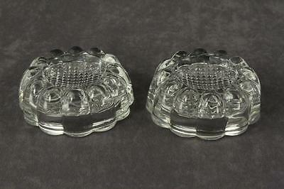 "Vintage 2PC Lot Clear Glass Ribbed Candle Candleholders Holds 2-3"" Votive"