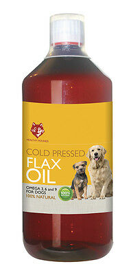 Healthy Hounds Cold Pressed English Flax oil for dogs 1000ml Omega 3