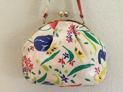 Large Vintage 60's DESIGNER SHOULDER BAG TOLEDANO handbag shoulder bag floral