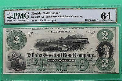 1800's $2 Tallahassee Rail Road Company Florida Obsolete Note PMG 64