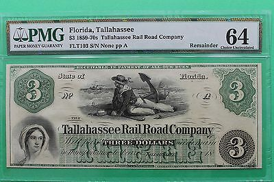 1800's $3 Tallahassee Rail Road Company Florida Obsolete Note PMG 64