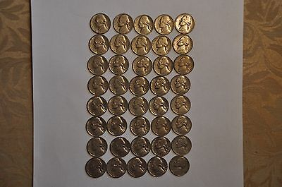 40 Jefferson Nickels Mixed Dates 1939-64 A Great Old Batch. Roll #2
