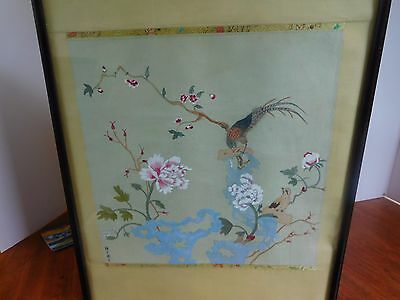 Vintage Japanese painting watercolour on silk of bird on Bough. Accomplished