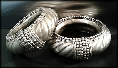 Rare Unusual Antique African Tribal Solid Metal Large Heavy Pair Anklets/Armlets
