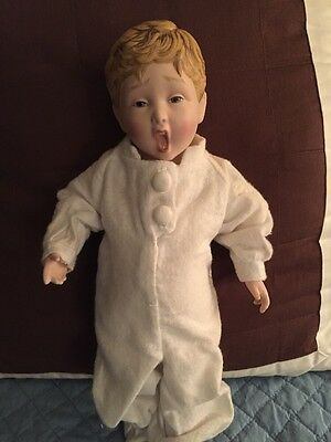 """FRANKLIN HEIRLOOM PORCELAIN DOLL FISK Tire CORPORATION BOY 12"""" COUNTRY STORE"""