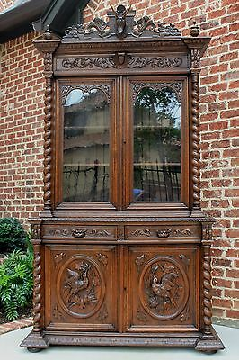 Antique French Oak BLACK FOREST Barley Twist GOTHIC Bookcase HUNT Cabinet STAG