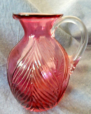 "Vintage Pilgrim Art Glass Hand Blown Light  to Dark Amethyst Pitcher (5"" tall)"