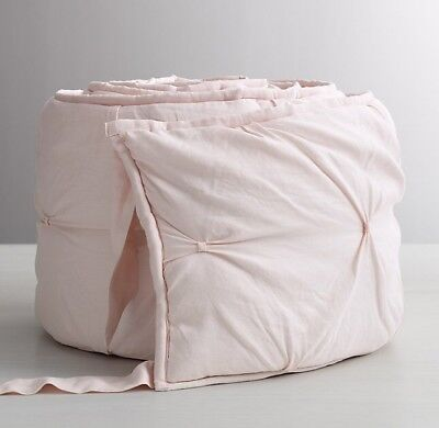 NWT Restoration Hardware Baby & Child Pintucked Bow Bumper Crib Pad Petal Pink