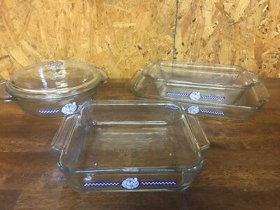 Anchor Hocking Ovenware Pillsbury Doughboy Poppin Loaf,casserole,3 Baking Dishes