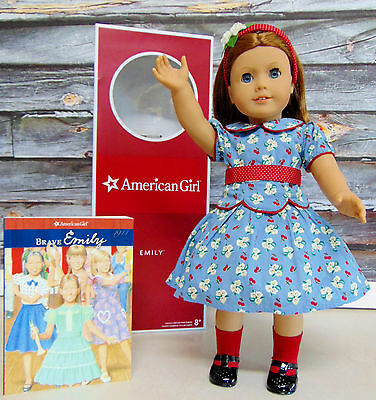 """NEW LG 18"""" American Girl Brave EMILY DOLL & BOOK Headband Dress Clothes Shoes!"""