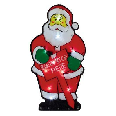 Premier Light Up BATTERY Christmas Window Silhouette - Santa Stop Here