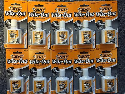 Huge Lot of 10 Bic Wite-Out Correction Fluid .7fl.oz, 20ml, Quick Dry