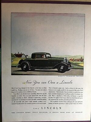 Lincoln V8 Two Passenger Coupe 1932 Original  Ad Cardstock