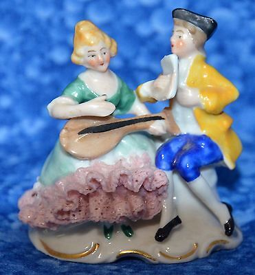 Dresden Germany 1920-30's Place Card Holders A Pair, Lady Playing Mandolin