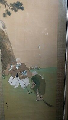 Great vintage Chinese Japanese block print on silk ??? signed marked