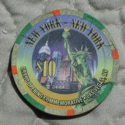 NEW YORK NEW YORK Las Vegas NV $10 Commemorative Grand Opening Casino Chip