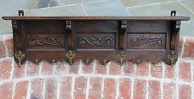 Antique French Country Oak Wall Shelf Coat Hat Rack Copper Pot Rack Kitchen